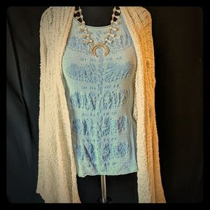 Blue Embroidered Lucky Brand Sleeveless Blouse - L